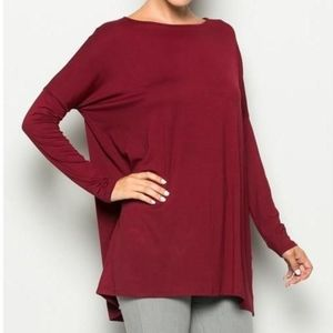 Tops - Burgundy Piko longsleeve blouse top